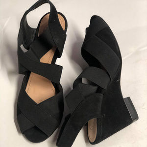 Tory Burch Suede Platform Wedge Heeled Sandals 6.5